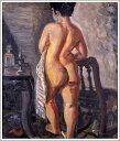 複製画 送料無料 プレミアム 学割 絵画 油彩画 油絵 複製画 模写小出楢重「裸女立像」 F12(60.6×50.0cm)サイズ プレゼント ギフト 贈り物 名画 オーダーメイド 額付き