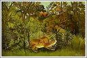 複製画 送料無料 プレミアム 学割 絵画 油彩画 油絵 複製画 模写アンリ・ルソー「飢えたライオン」 F10(53.0×45.5cm)サイズ プレゼント ギフト 贈り物 名画 オーダーメイド 額付き