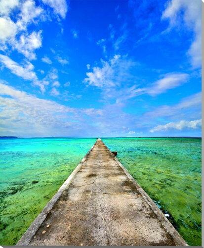 風景写真パネル 沖縄黒島の海と伊古桟橋 65.2×53cm oki-001-f15 インテリア ポスターとは違う,リ...