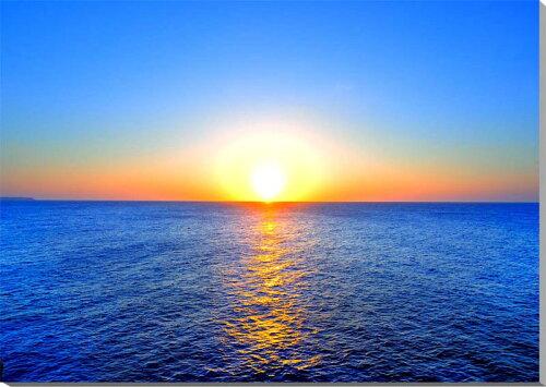 風景写真パネル 沖縄北大東島の海と太陽 夕日 72.7×50.0cmKTD-025 インテリア ポスターと違う,タ...