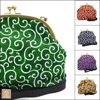 【送料無料】京都職人唐草模様がま口5色ショルダーバッグ手作り国産大人気和柄ハンドメイド