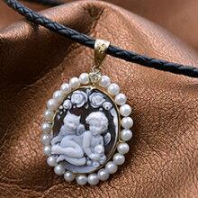 18金本真珠巻きシェルカメオ天使ペンダント