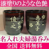 名入れ 湯呑み 茶碗 プレゼント 漆塗りのような、うるし色の深く輝く 夫婦 湯呑み茶碗(湯のみ茶わん) 2客1組 名入れのペアで父の日・母の日に大人気 【楽ギフ_ 結婚祝い】