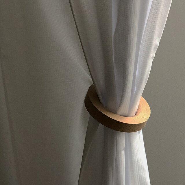 ネコポス送料無料2個セットウッドリングカーテンホルダーマグネット式タッセルブナ【artofblack】