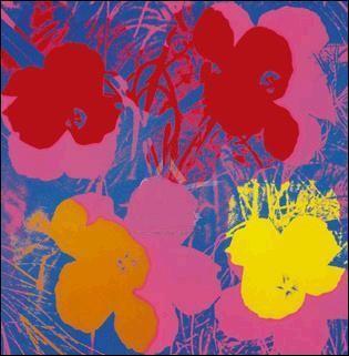 ウォーホール 花 1970年(赤、黄、橙、青)915x915mm -ウォーホル-