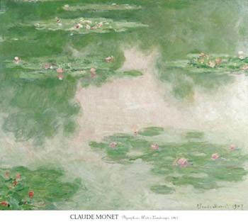 【アートポスター】睡蓮と水辺の風景 1907年 (966mm×1067mm) -モネ-