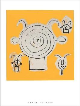 グリザイユのファウナの顔と3つの人物(60×80cm) -ピカソ-