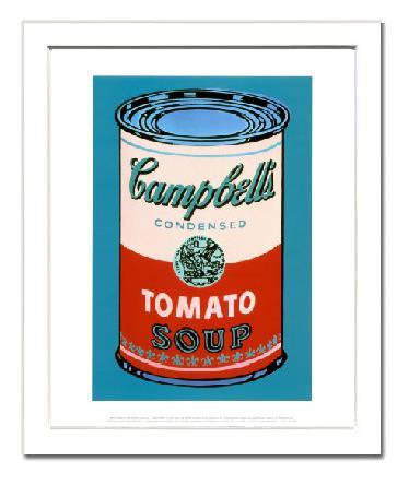 【アンディ・ウォーホル額装ポスター】キャンベルスープ缶 1965年(ピンクと赤)(320×390×15mm)