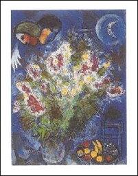 【アートポスター】花の静物画(24cm×30cm) -シャガール-