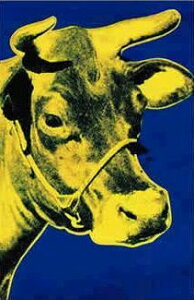 【アートポスター】黄色い牛と青い背景(914×1372mm)