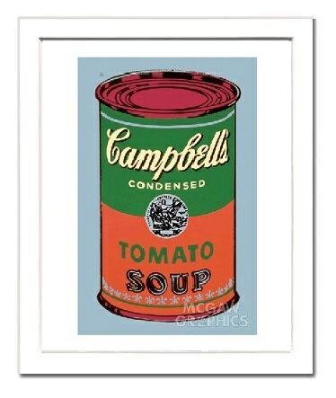 【アンディ・ウォーホル額装ポスター】キャンベルスープ缶 1965年(緑と赤)(320×390×15mm)