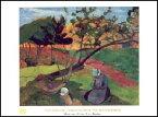 【アートポスター】ブルターニュの2人の女と風景 (60cm×80cm) -ゴーギャン-