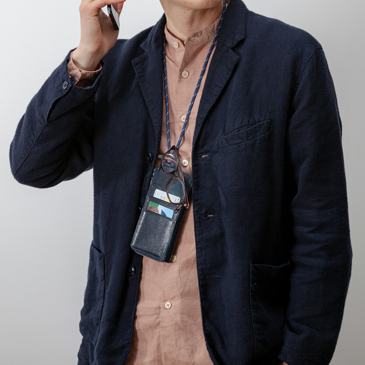 Totem Re Vooo(トーテムリボー) ネックウォレット スマホケース 長財布 L字ファスナー財布 首掛け * レディース メンズ イタリアンレザー 本革 日本製 豊岡財布 ネイビー・紺/ワイン TRV0205W ARTPHERE