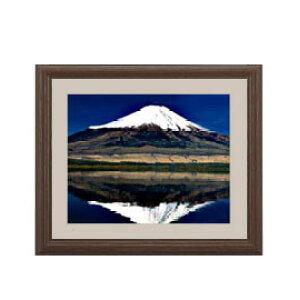 富士山(3) アートフレーム:色ブラウン サイズS 321×271mm 【油絵 直筆仕上げ絵画】【軽量フレーム・額表面保護板】 油彩 風景画 オリジナルインテリア絵画 風水画 壁掛け