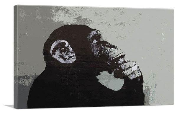 絵画, その他 The Thinker MonkeyBanksy