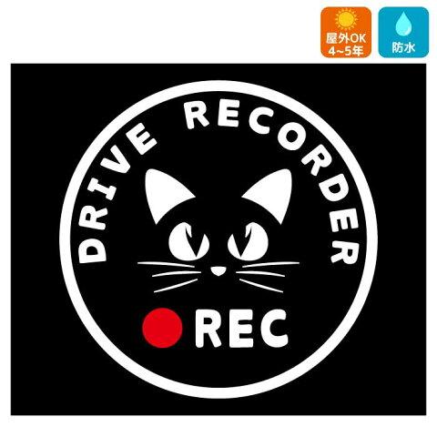 猫 ドライブレコーダー ステッカー フォントタイプB かわいい おしゃれ かっこいい ドラレコ 搭載車 煽り運転 事故防止 安全運転 録画 防犯 セキュリティ対策 カーサイン リアガラス リアウィンドウ 注意 DRIVE RECORDER