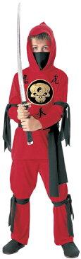 子供 レッドニンジャ M 120-140cm対応 男の子 コスチューム 忍者 ハロウィン 変装 仮装 衣装