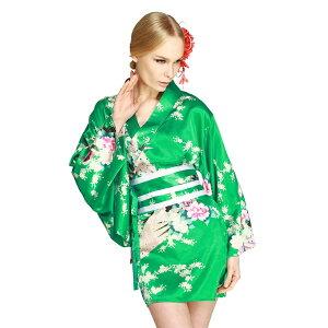 Vestido Kimono Mini Hana Blossom Verde Esmeralda KIMONODRESS TOKYO WISH Hana Blossom Verde Esmeralda Oiran Geisha Maiko Kimono Vestido Oiran Geisha Oiran