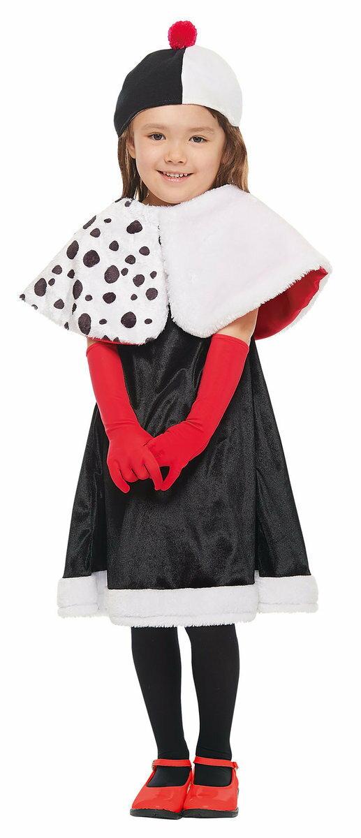 子供用クルエラ S 100-120cm対応 ヴィランズ 101匹わんちゃん ダルメシアン DISNEY ディズニー ハロウィン 衣装 コスチューム コスプレ 仮装画像