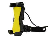 バイクスマホホルダーバックミラーステ固定型USB電源ON/OFFスイッチ付属ダイヤル式ガッチリ4点固定式カラー:ブラック