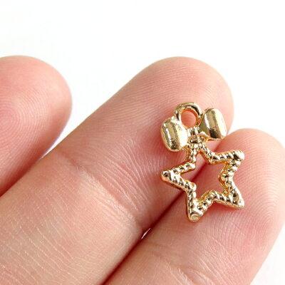 金属チャーム 小さなリボンと星のフレーム