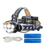 LEDヘッドライト12000ルーメンUSB充電式軽量防水8点灯モード作業灯防災登山釣りランニング夜釣りPSE認証済み18650型バッテリー付属