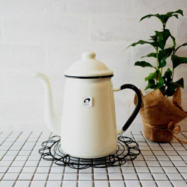野田琺瑯 キリンコーヒーポット ホワイト 1L/11cm