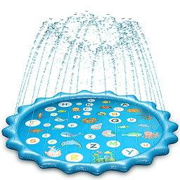 噴水マット プレイマット 直径150CM 噴水池 水遊び ウォーター アウトドア 夏の日 芝生遊び 庭 家庭用 親子芝生遊び プールマット 誕生日プレゼント 夏対策 (ブルー 円形のレース)