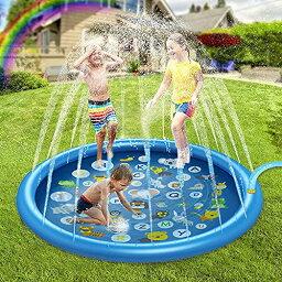 設計 噴水マット 噴水プール 水遊び 子供用 ビニールプール おもちゃ プレイマット 170CM直径 噴水 家庭用 親子遊び 芝生遊び 夏物遊具 庭 プール ビーチ 簡単収納 猛暑対策 アウトドア