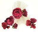 髪飾り 振袖用 -薔薇・リボン/赤系- 大小3個セット[ 1103-6...