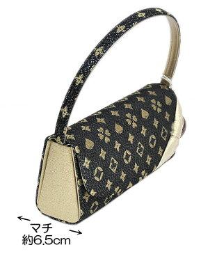 振袖用 岩佐 草履バッグセット Mサイズ−モノグラム風/黒・ゴールド系− [ 1104-753 ] 【ふりそで・着物・きもの・素材・成人・正月・日本製・トランプ柄・女性・女物・ブラック・ゴージャス】