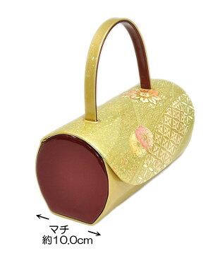 振袖用 草履・バッグセット Sサイズ −七宝・撫子・さくら/黒・臙脂・ゴールド・黄緑系− [ 1703-2278 ] 【ふりそで・着物・きもの・成人・正月・お祝い・パーティー・22.0cm・合皮・光沢・桜・なでしこ・古典・和柄・女性・女物・レディース・小さい】