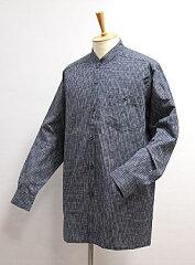 作務衣の下にオススメ【久留米織】紳士用 スタンドカラーシャツ -縞- 【楽ギフ_のし】