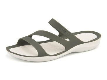 crocs(クロックス) SWIFTWATER SANDAL W(スウィフトウォーターサンダル) 203998 06X スモーク/ホワイト | サンダル レディース フラットサンダル フラット レディースサンダル 靴 カジュアル シューズ ブランド ウォーターサンダル ぺたんこ ぺったんこ ローヒール 白