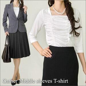 アッドルージュオリジナルスーツのインナーにおすすめ♪七分袖カットソーは、通勤・ビジネス・...