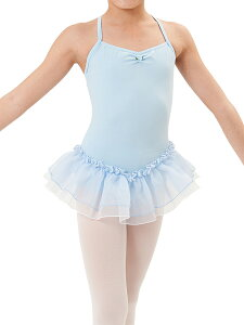 子供用バレエ(ダンス)レオタード2重スカートと肩紐クロスデザイン<プティ>