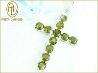 天然宝石モルダバイトのクロスネックレス/Lサイズ/隕石の衝突でできた宝石/芦屋ダイヤモンド/ジュエリーネックレスsilver925