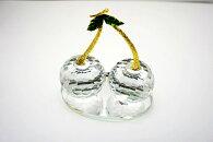 【クリスタルガラス】クリスタルカットクリスタル置物さくらんぼチェリー/58920