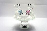 【クリスタルガラス】220564/クリスタル熊カップル置物ガラス置物【高さ:約13cm】