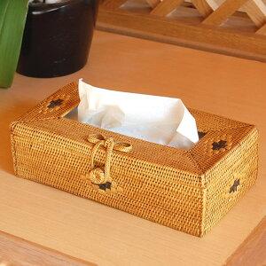 スリムタイプのティシュケースがすっぽり収まるバリ島の人気アジアン雑貨リボンストラップのア...