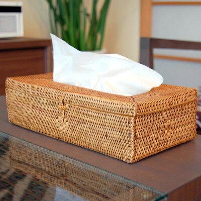 バリ島の人気アジアン雑貨 スリムタイプのティシュケースがすっぽり収まるアタ製ティッシュケ...