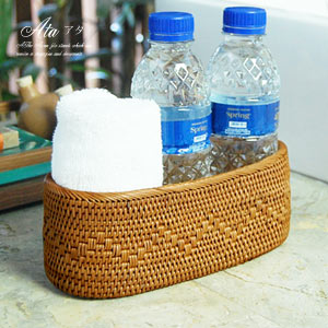 バリ島の天然素材で編まれた小物入れ人気のアジアン雑貨アタで編まれた波模様が可愛い楕円形の...