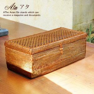 バリ島の天然素材で編まれた人気のアジアン雑貨蓋がメッシュになったアタ製小物入れケース[1031...