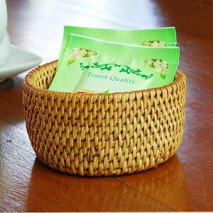 ティーパックやキャンディを入れるのに◎バリ島の人気アジアン雑貨アタで編まれた円柱形の小さ...