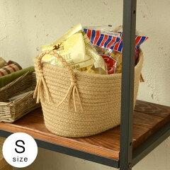 麻でできた編みこみ取っ手のバスケット(Sサイズ)