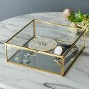 ガラスと真鍮でできた鏡付き収納ケース(Lサイズ)(63170) 【ガラスボックス ガラスケース 容器 四角 ディスプレイケース 小物入れ 小物収納】