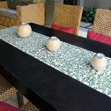 ウォーターヒヤシンスで出来た可愛い模様のテーブルランナー[ホワイト×ターコイズ][10825]【テーブルセンター テーブルデコレーション テーブル布 中央 タペストリー クロス ファブリック バリ 雑貨 アジアン雑貨 新生活】