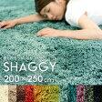 【送料無料】洗えるシャギーラグマット[強力滑り止め付き]約200×250cm【マイクロファイバー 長方形 厚手 ラグカーペット ホットカーペット対応 滑り止め 絨毯 じゅうたん 北欧 グリーン ホワイト アイボリー ブラウン レッド ブラック ベージュ かーぺっと らぐ 敷物】