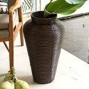 ぐるぐるラタンの大きな壷型アジアンバスケット[コイルベース][6301]【造花 アートプランツ 花瓶 ...