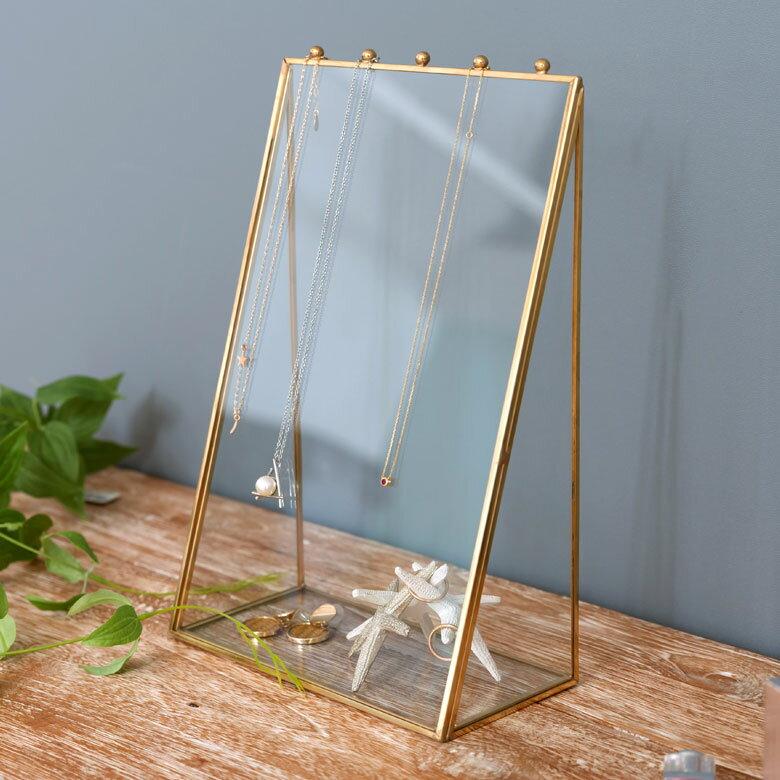 ガラスと真鍮でできたアクセサリースタンドケース(63200) 【 ネックレス 収納 ケース アクセサリー収納 ガラス 吊るす アクセサリースタンド ディスプレイ ブレスレット 小物入れ 小物収納 アジアン雑貨】